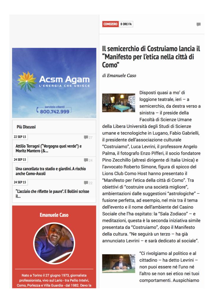 sito Como Zero - 4 ottobre 2015